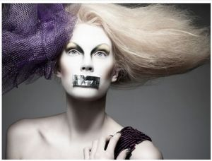 Canada's Next Top Model (Cycle 3), sent along by Julie C., included a photoshoot in which the models' mouths were covered with duct tape