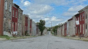East Baltimore row houses, by Jeff Buster