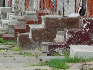Close-up of East Baltimore stoops, by Jeff Buster