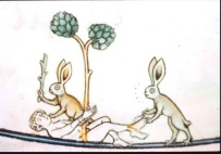 Rabbits beat a naked man with stick and tickle his feet with feather.