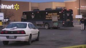 Scene outside Grand Forks Walmart early this morning