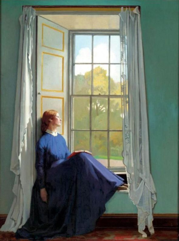 reading by window