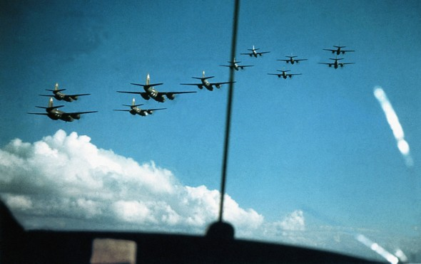 Planes from the 344th Bomb Group, which led the IX Bomber Command formations on D-Day on June 6, 2014. Operations started in March 1944 with attacks on targets in German-occupied France, Belgium, and the Netherlands. After the beginning of the Normandy invasion, the Group was active at Cotentin Peninsula, Caen, Saint-Lo and the Falaise Gap.  (Photo by Galerie Bilderwelt/Getty Images)
