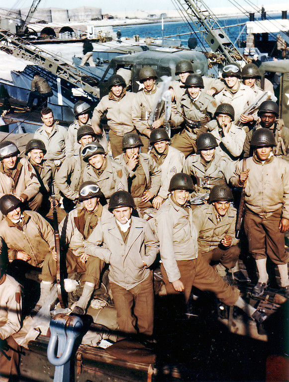 The 1st Infantry Division of the United States Army (The 'Big Red One') in Dorset, United Kingdom on June 5, 1944 before departing for Omaha Beach.  (Photo by Galerie Bilderwelt/Getty Images)