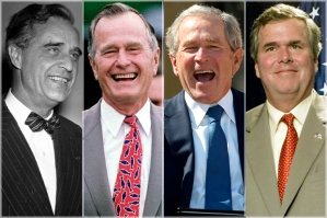 The Bush Dyasty: Father, son, and two grandsons, related by blood.
