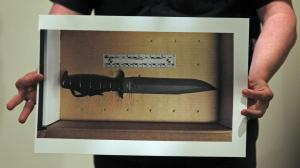 (Boston, MA, 06/02/15) A picture of the military style knife that was used to threaten officers during a police involved shooting this morning at 4600 Washington St. in Roslindale, during a press conference at Boston Police Headquarters on Tuesday,  June  02, 2015.   Staff Photo by Matt Stone