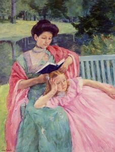 Auguste reading to her daughter, Mary Cassatt