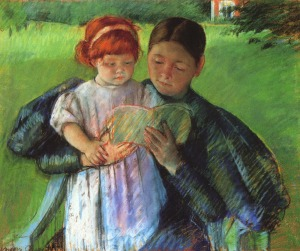 Nurse reading to a little girl, Mary Cassatt