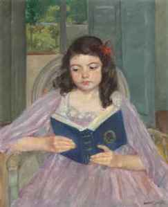 Francoise in a round backed chair, reading, Mary Cassatt
