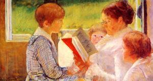 Mrs. Cassatt reading to her grandchildren, Mary Cassatt