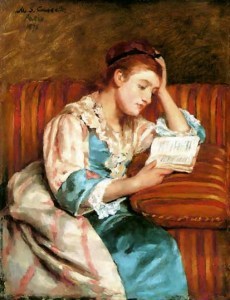 Mrs. Duffee Reading on Striped Sofa, Mary Cassatt
