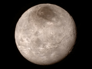 Remarkable new details of Pluto's largest moon Charon are revealed in this image from New Horizons' Long Range Reconnaissance Imager (LORRI), taken late on July 13, 2015, from a distance of 289,000 miles (466,000 kilometers). NASA-JHUAPL-SwRI