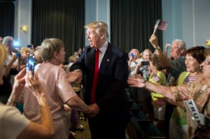 Republican presidential hopeful Donald Trump greets supporters at a South Carolina campaign rally in Bluffton, S.C., Tuesday, July 21, 2015. (AP Photo/Stephen B. Morton)