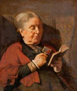 An old woman reading by Harry Clifford Pilbury