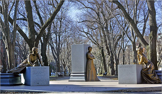 The Boston Women's Memorial celebrates three important contributors to Boston's rich history - Abigail Adams, Lucy Stone, and Phillis Wheatley. Each of these women had progressive ideas that were ahead of her time, was committed to social change, and left a legacy through her writings that had a significant impact on history.