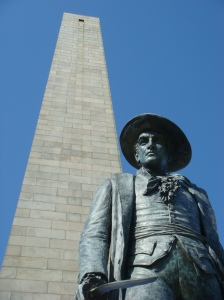 "Statue of Col. William Prescott at the Bunker Hill Monument. Famous quote: ""Don't shoot till you see the whites of their eyes!"""