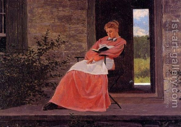 Girl reading on a stone porch, by Winslow Homer