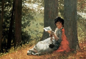 Girl reading under an oak tree, by Winslow Homer