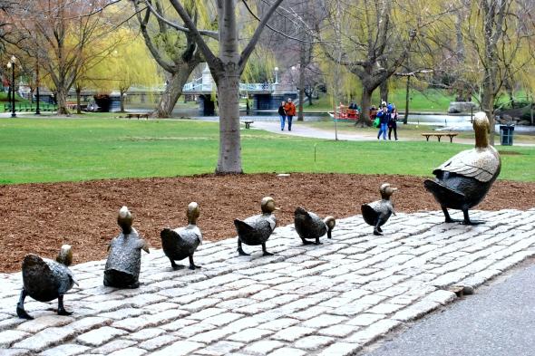 Make Way for Ducklings statue in Boston Public Garden