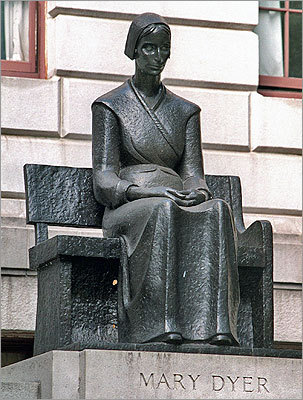 "Statue of Mary Dyer, who ""challenged traditional Puritanism with her progressive beliefs,"" and was put to death for it."