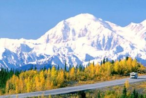 Alaska. The George Parks highway looking south to Mt McKinley (20,320 ft) in autumn.