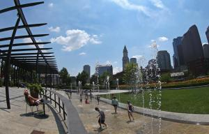 People cool off at fountains on Rose Kennedy Greenway, Boston