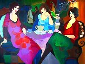 tarkay-three-ladies-at-tea