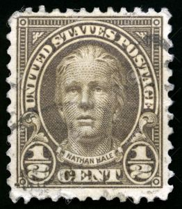 UNITED STATES, CIRCA 1922: Vintage US Postage Stamp celebrating Nathan Hale, soldier for the Continental Army during the American Revolutionary War, circa 1922.