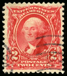 UNITED STATES, CIRCA 1902: Vintage US Postage Stamp celebrating George Washington, the first President of the United States of America, circa 1902.