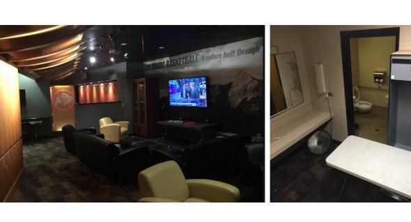 On the left: Donald Trump's greenroom; on the right: Rand Paul's. | Chris LaCivita via @LaCivitaC