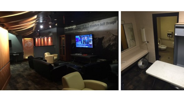 On the left: Donald Trump's greenroom; on the right: Rand Paul's. | Chris LaCivita via @LaCivitaC
