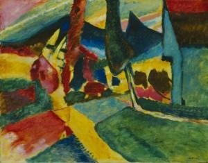 Landscape with two poplars, Kandinsky