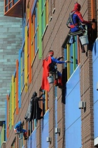 Superheroes who are window washers at a children's hospital in Pittsburgh.