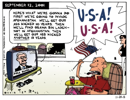 The U.S. has committed at least 15,000 combat troops and billions of dollars to extend the war of Afghanistan another 10 years, to 2024. Imagine what Americans would have thought if Bush had told them what was in store after 9/11.