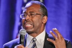 Dr. Ben Carson addresses the Republican National Committee luncheon Thursday, Jan. 15, 2015, in San Diego. (AP Photo/Lenny Ignelzi)