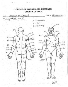 Drawing from autopsy of Laquan McDonald