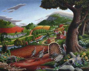 Folk art landscape by Vered Cohen