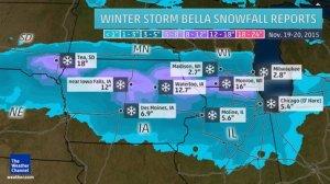 Snowfall reports so far