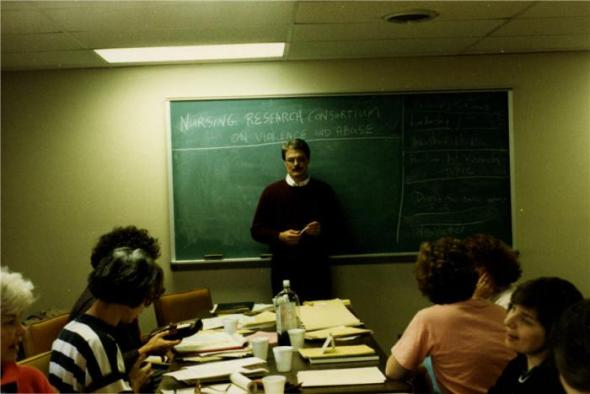 Dan Sheridan addresses a group of nurses collaborating to improve women's lives, ca. 1990s Courtesy National Library of Medicine