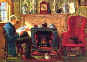 Reading by the fire, Edward Lamson Henry.