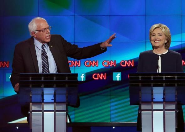 Bernie Sanders and Hillary Clinton at the Oct. 13 CNN debate