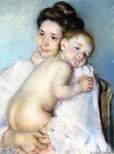 Mother_Berthe holding her baby, Mary Cassett