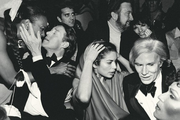 Halston, Bianca Jagger, Jack Haley Jr, his wife Liza Minnelli and Andy Warhol at a New Year's Eve party at Studio 54 in 1978.
