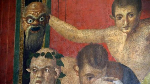 A view of one of the frescoes of the newly restored Villa of Mysteries on the occasion of its presentation to journalists in the ancient site of Pompeii, Italy, Friday, March 20, 2015. Italy unveiled. (AP)