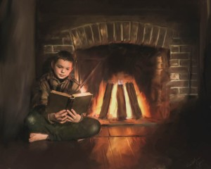 Reading by the fireplace. Photo by Caroline Jensen.