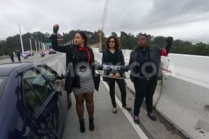 Black Lives Matter protesters on the Bay Bridge in San Francisco