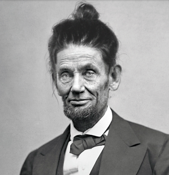Abraham Lincoln Man Bun Hairstyle Funny Sky Dancing