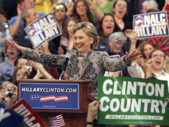 Hillary Clinton after winning the NH primary in 2008
