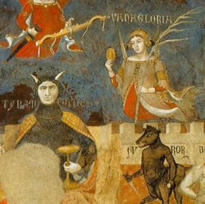 Close up of The Allegory of Good and Bad Government. A series of three fresco panels painted by Ambrogio Lorenzetti. Salla Dei Nove 1338 - 1339.