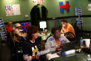 Jackie DeBose, center right, with her friends at Clinton field office